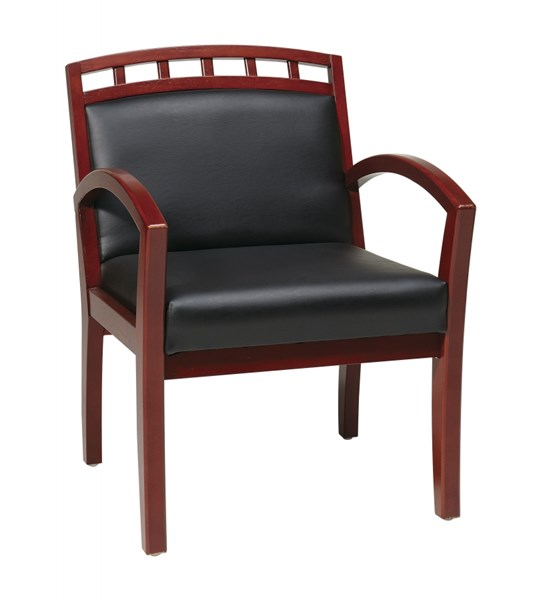 WD Collection Cherry Black Faux Leather Leg Chair w/Wood Crown Back OSP-WD1647-U6
