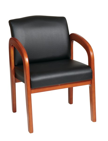 WD Collection Blue Mahogany Faux Leather Wood Visitor Chairs OSP-WD383-CH-VAR1