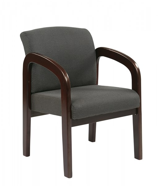 WD Collection Mahogany Charcoal Wood Fabric Visitor Chair OSP-WD383-320