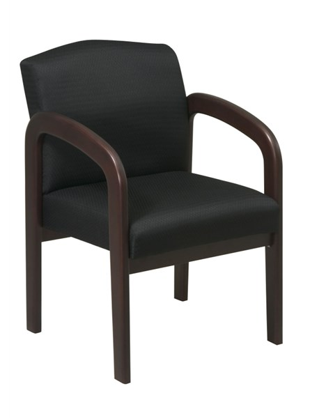 WD Collection Espresso Wood Black Fabric Visitor Chair OSP-WD388-363