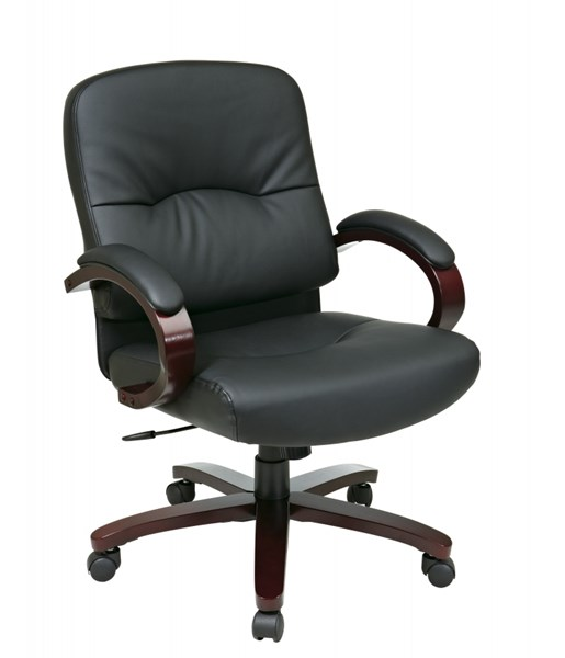 WD Collection Black Bonded Leather Mahogany Wood Base Mid Back Chair OSP-WD5331-EC3