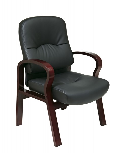 WD Collection Mahogany Wood Black Bonded Leather Visitors Chair OSP-WD5335-EC3