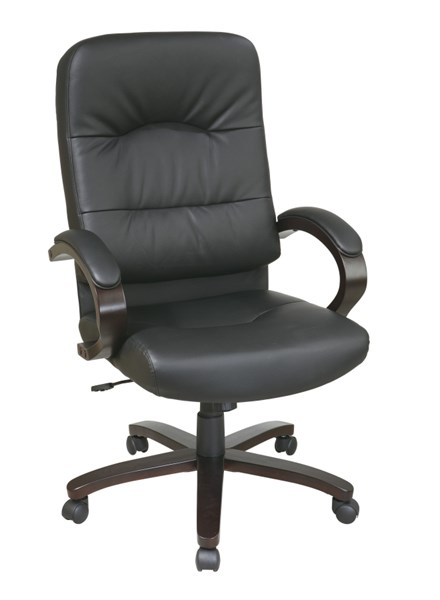WD Collection Black Bonded Leather Espresso Wood Base High Back Chair OSP-WD5380-EC3