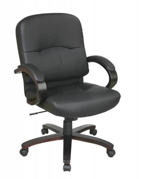 WD Collection Black Bonded Leather Espresso Wood Base Mid Back Chair OSP-WD5381-EC3