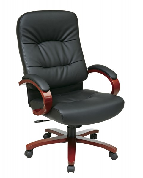 WD Collection Black Bonded Leather Cherry Wood Base High Back Chair OSP-WD5670-EC3