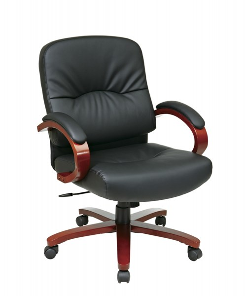 WD Collection Black Bonded Leather Cherry Wood Base Mid Back Chair OSP-WD5671-EC3