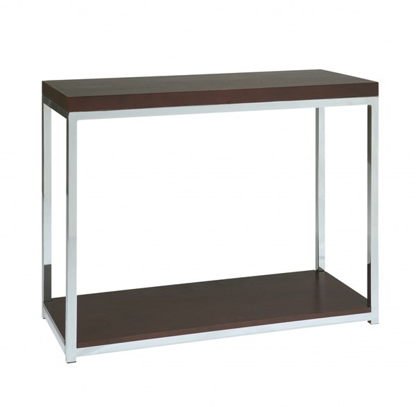 Wall Street Modern Espresso Chrome Melamine Foyer Table OSP-WST07