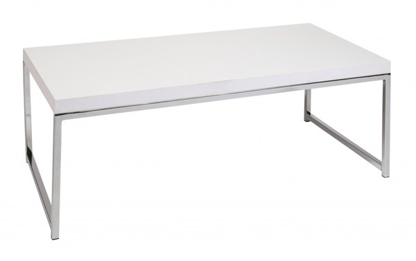 Wall Street Modern White Chrome Melamine Coffee Table OSP-WST12-WH