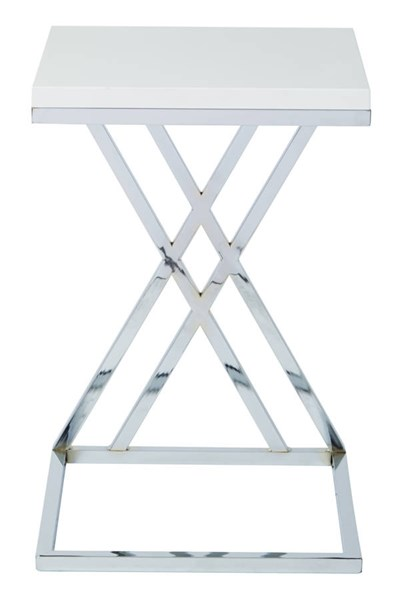 Wall Street White Wood Top Chrome Frame Multi-Purpose Side Table OSP-WST16-WH