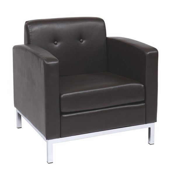Wall Street Contemporary Espresso Faux Leather Arm Chair OSP-WST51A-E34