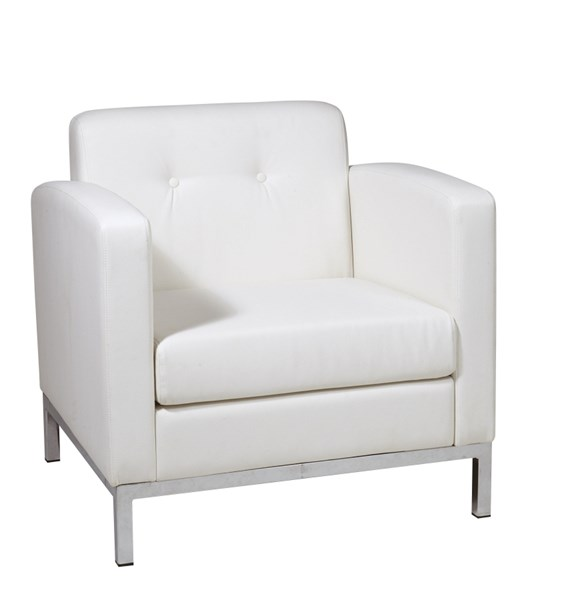 Wall Street Contemporary White Faux Leather Arm Chair OSP-WST51A-W32