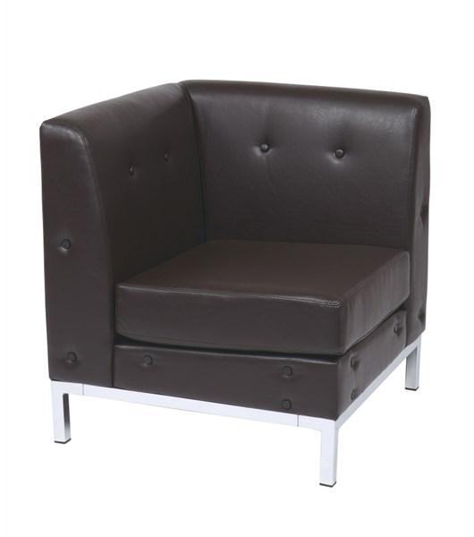 Wall Street Espresso Faux Leather Corner Chair OSP-WST51C-E34
