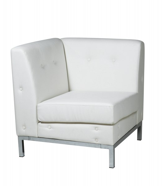 Wall Street White Faux Leather Corner Chair OSP-WST51C-W32