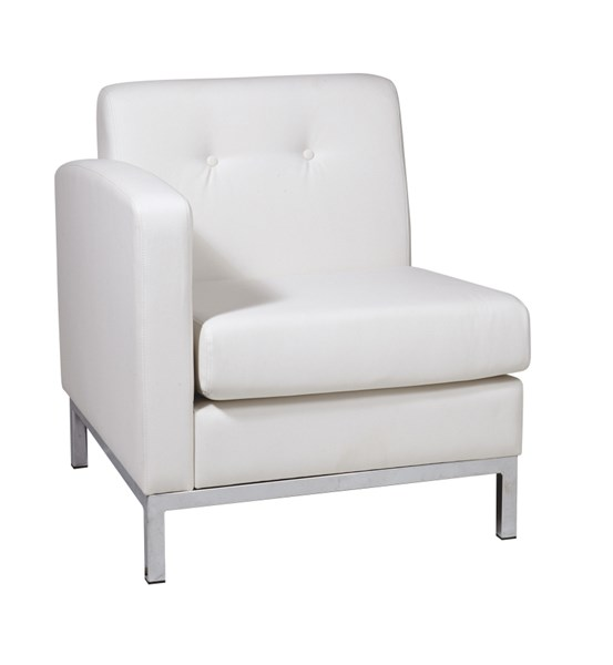 Wall Street White Faux Leather Arm Chair LAF OSP-WST51LF-W32