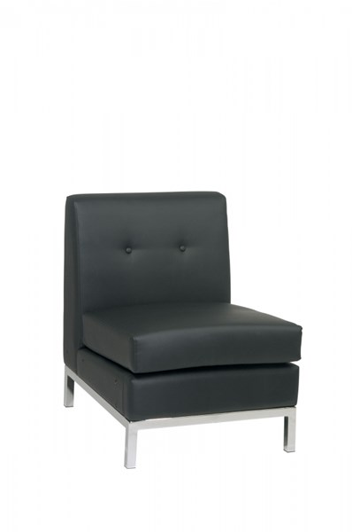 Wall Street Modern Black Faux Leather Armless Chair OSP-WST51N-B18
