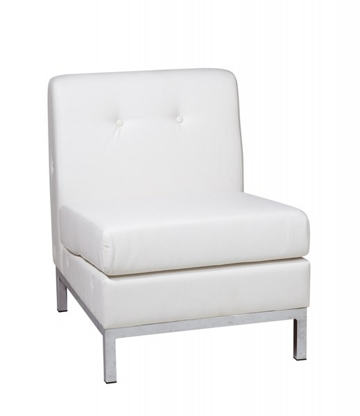 Wall Street White Faux Leather Armless Chair OSP-WST51N-W32