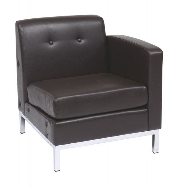 Wall Street Espresso Faux Leather Arm Chair RAF OSP-WST51RF-E34