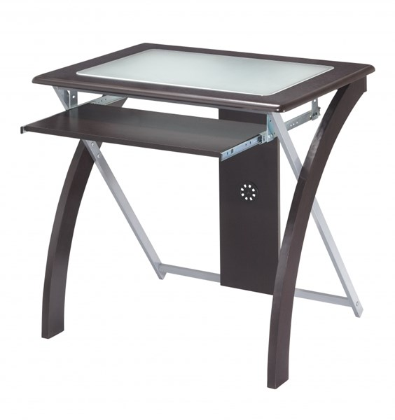 X-Text Espresso Silver Computer Desk w/Frosted Glass OSP-XT59ES