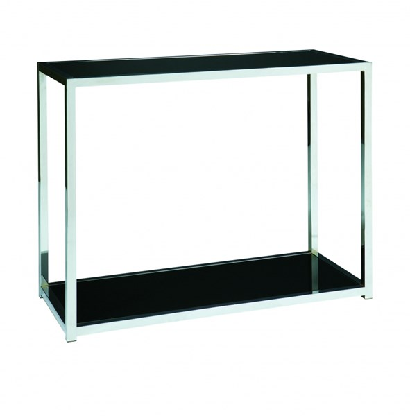 Yield Contemporary Chrome Metal Black Glass Foyer Table OSP-YLD07