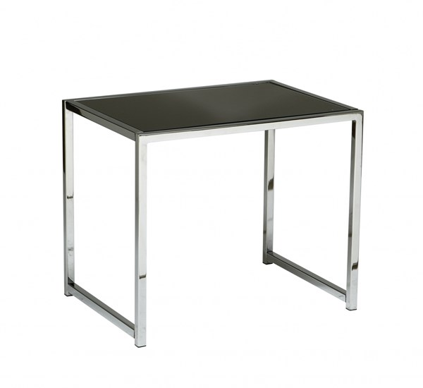 Yield Contemporary Chrome Metal Black Glass End Table OSP-YLD09