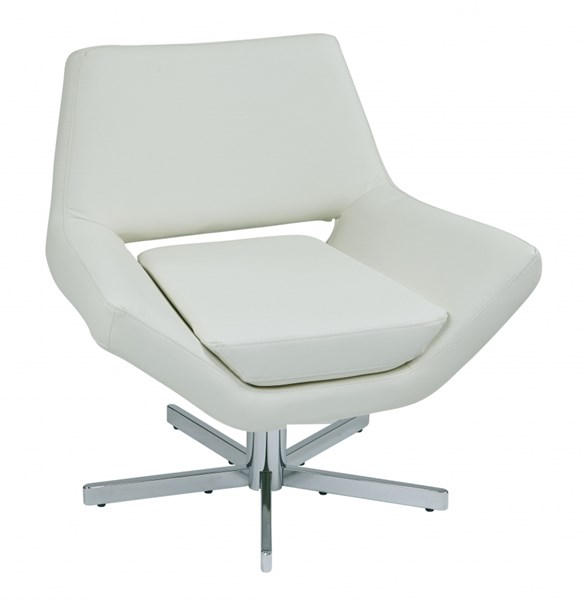 Yield Modern White Faux Leather Chrome Metal 31 Inch Wide Chair OSP-YLD5130-W32