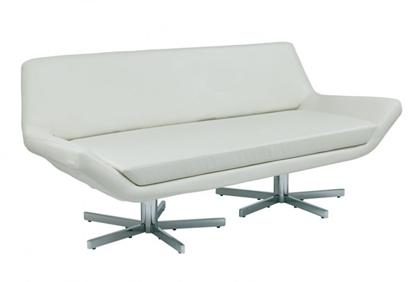 Yield White Faux Leather Chrome Metal 72 Inch Loveseat OSP-YLD5372-W32