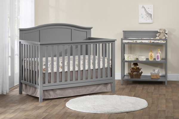Oxford Emerson Dove Gray 2pc Crib Set with Changing Table OXFD-66011550-KBR-S1