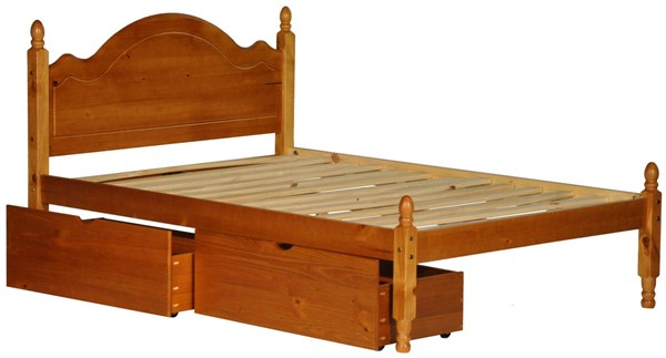 Reston Traditional Honey Pine Solid Wood Full Panel Bed w/Drawers PIF-1444-FPNBD