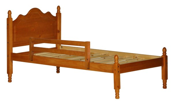 Reston Traditional Honey Pine Solid Wood Full Panel Bed w/Rail Guard PIF-1444-FPNBR