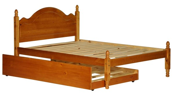 Reston Traditional Honey Pine Solid Wood Full Panel Bed w/Trundle PIF-1444-FPNBT