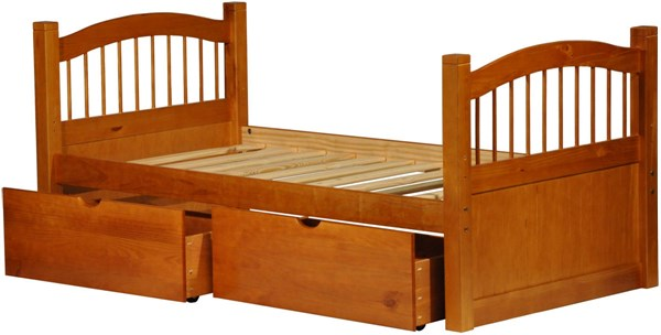York Honey Pine Solid Wood Twin Captain Bed w/Drawers PIF-2234-CBD