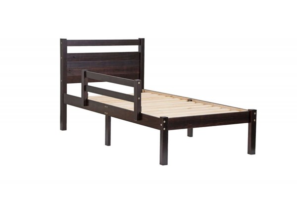 Palace Imports Bronx Java Solid Wood Twin Platform Bed With Guard Rail