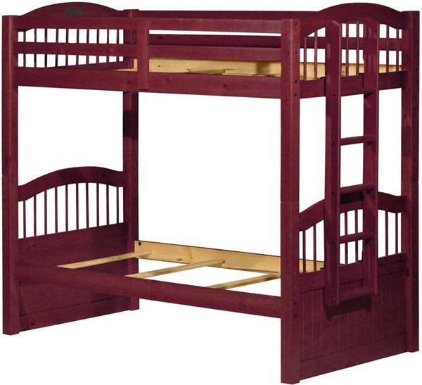 Palace Imports Triplet Mahogany Twin Over Twin Bunk Bed With Guard Rail PIF-4012-MGY-GUARD-RAIL-BBED