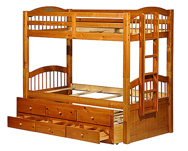 Palace Imports Triplet Wood Twin Over Twin 3 Drawers Trundle Bunk Beds PIF-TRIPLET-TRN-DRW-BBED-VAR