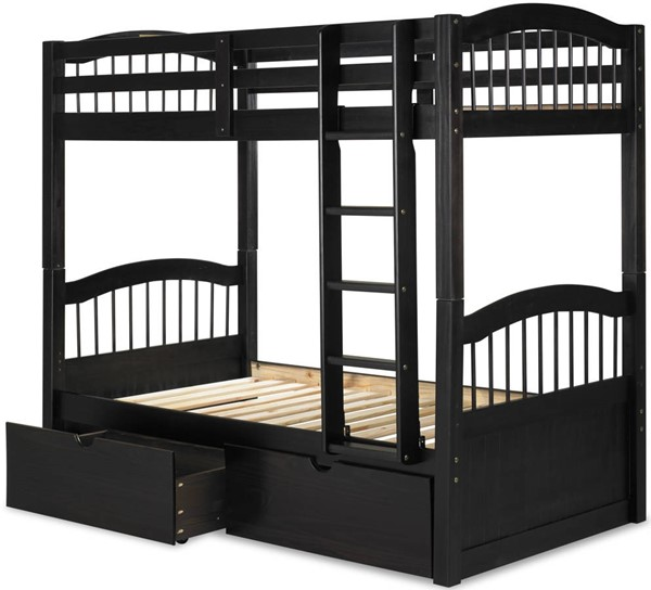 Triplet Java Solid Wood Twin/Twin Bunk Bed w/Drawers PIF-4016-TT-BBD