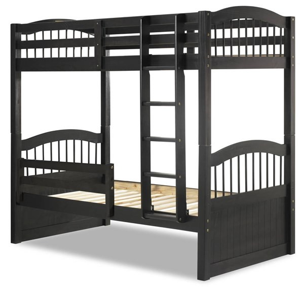 Palace Imports Triplet Solid Wood Twin Over Twin Bunk Beds With Guard Rail PIF-TRIPLET-GUARD-RAIL-BBED-VAR