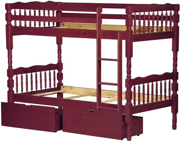Arlington Mahogany Solid Wood Twin/Twin Bunk Bed w/Drawers PIF-4032-TT-BBD
