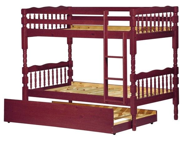 Palace Imports Arlington Mahogany  Solid Wood Twin Over Twin Trundle Bunk Beds PIF-403-BBT-VAR