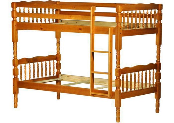 Palace Imports Arlington Honey Pine Solid Wood Twin Over Twin Bunk Bed PIF-4034
