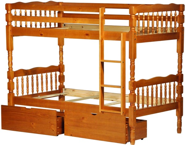 Arlington Honey Pine Solid Wood Twin/Twin Bunk Bed w/Drawers PIF-4034-TT-BBD