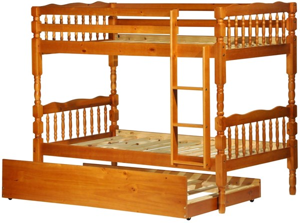 Arlington Honey Pine Solid Wood Twin/Twin Bunk Bed w/Trundle PIF-4034-TT-BBT