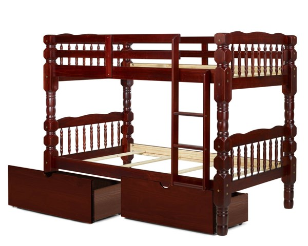 Palace Imports Dakota Solid Wood Twin Over Twin Drawer Bunk Beds PIF-DAKOTA-TWO-DRW-BBED-VAR