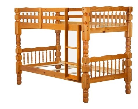 Palace Imports Dakota Honey Pine Solid Wood Twin Over Twin Bunk Bed PIF-4094