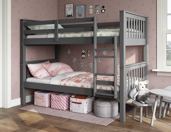 Palace Imports Mission Gray Twin Over Twin Bunk Bed PIF-4135