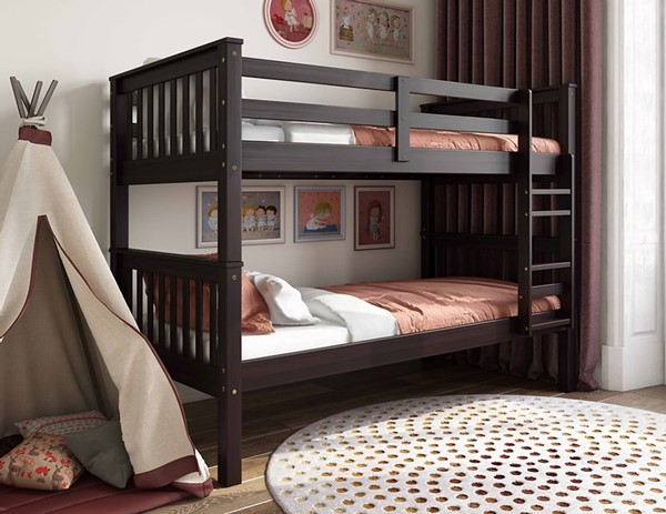 Palace Imports Mission Java Twin Over Twin Bunk Bed PIF-4136