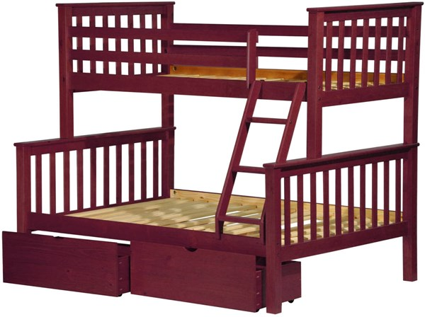 Mission Mahogany Solid Wood Twin/Full Bunk Bed w/Drawers PIF-42542-TF-BBD