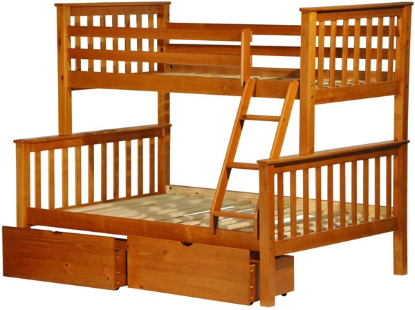 Mission Honey Pine Solid Wood Twin/Full Bunk Bed w/Drawers PIF-42544-TF-BBD