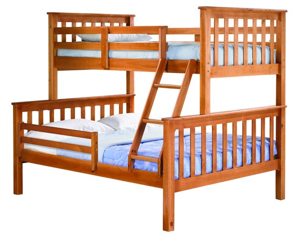 Palace Imports Mission Solid Wood Twin Over Full Bunk Beds With Guard Rail PIF-MISSION-GURAD-RAIL-BBED-VAR
