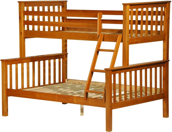 Palace Imports Mission Honey Pine Wood Twin Over Full Bunk Bed PIF-42544