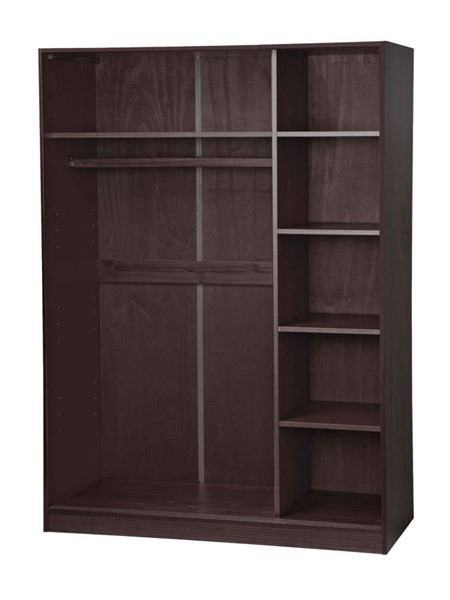 Palace Imports Java 3 Sliding Door Wardrobe With 5 Shelves